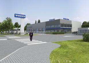 Vizualizace - příjezd k areálu VOLVO Truck Center Hradec Králové