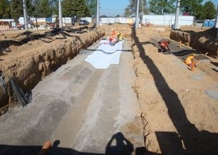Foundation concrete slabs for assembly pits