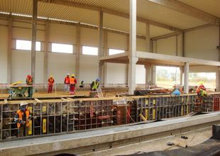 Work done on assembly pits inside the hall