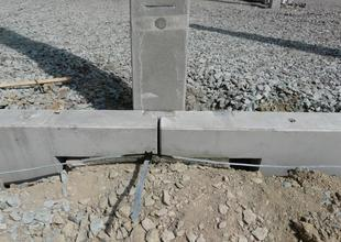 Detail of assembly of prefabricated ground beams on the pile cap