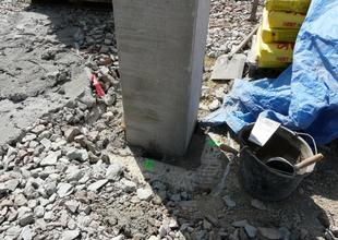 Concreting the column in pocket of the pile cap