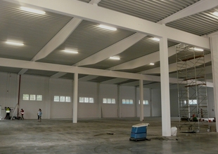 Interior of new warehouse - finishing work