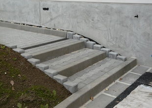 Pavements and outside levelling staircase